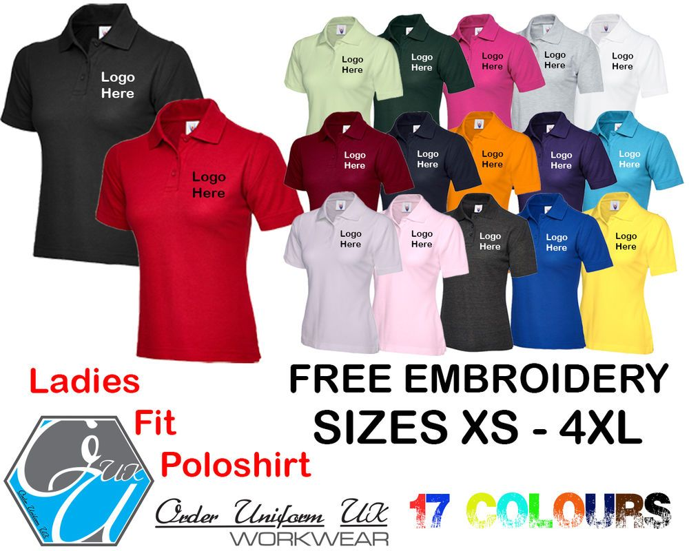 8241d7c7c Personalised Embroidered ladies Fit Polo Shirt Workwear, Uniform, Logo,  Business | eBay