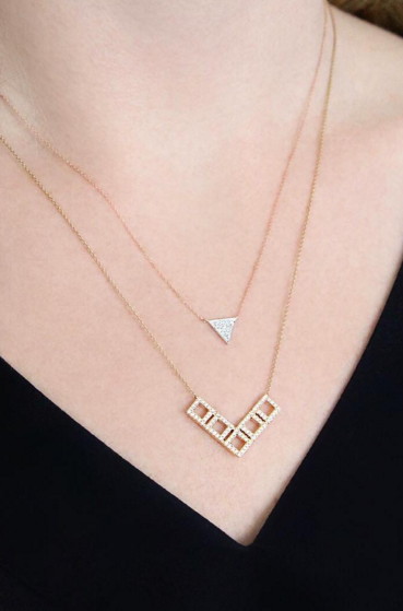 Yellow rose gold layers a perfect match diamonds necklaces