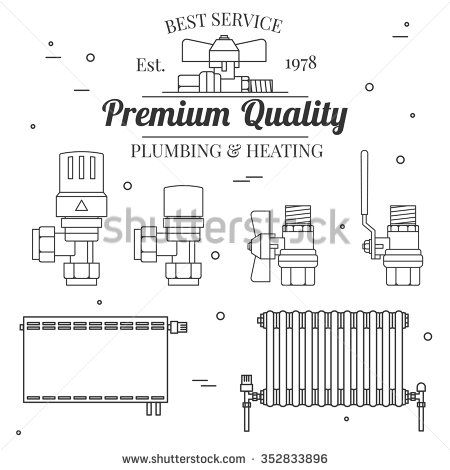 Ball valve icons and central Heating Radiators icons thin line for ...