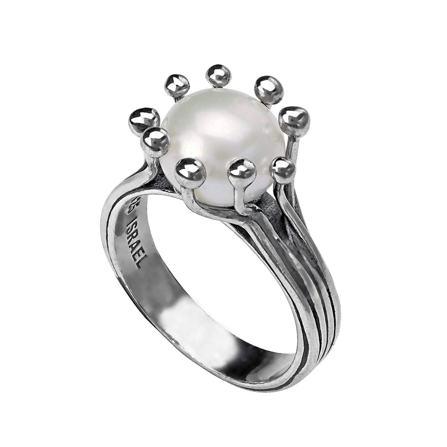 PZ Paz Creations 925 Sterling Silver 10MM Classic White Natural Freshwater Cultured Pearl Ring for Women