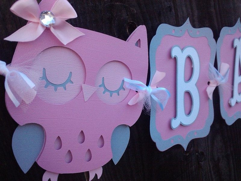 Owl Baby Shower Banner pink and gray by SweetBugABoo on Etsy ...