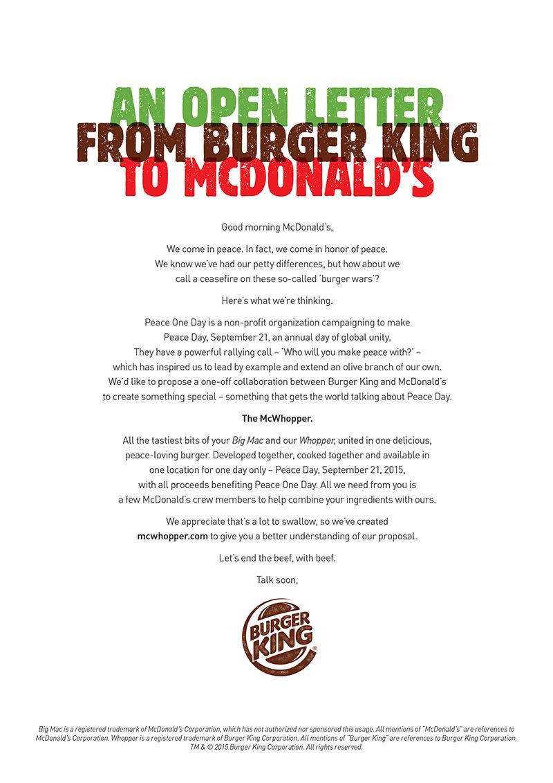 Burger King Writes Open Letter To McDonald's Asking For A
