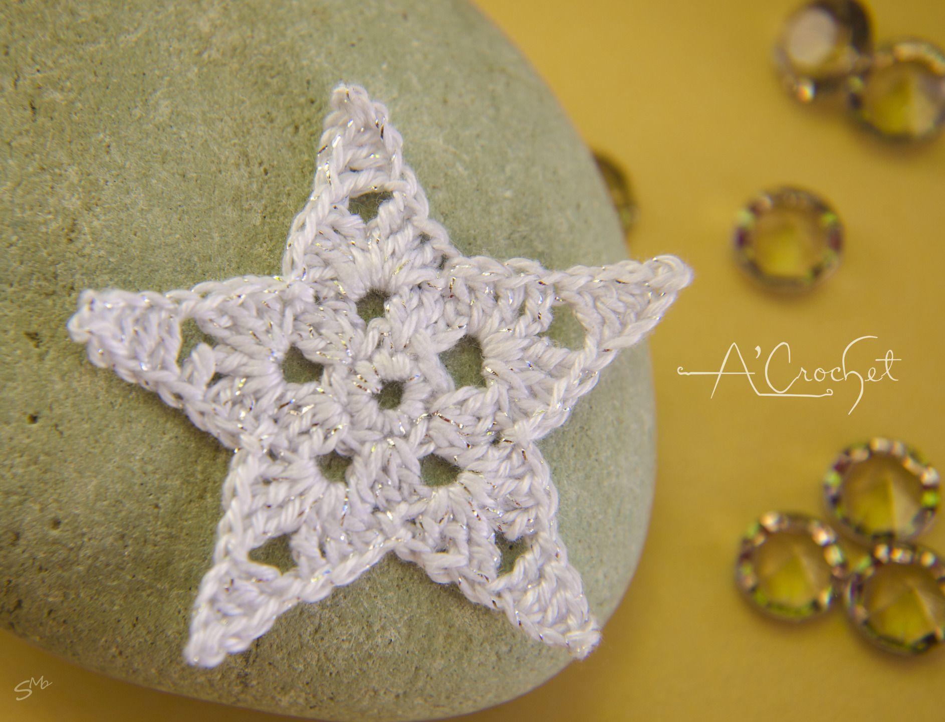 Applique au crochet - Lot 6 étoiles de Noël 5.5 cm en coton : Déco, Customisation Textile par acrochet