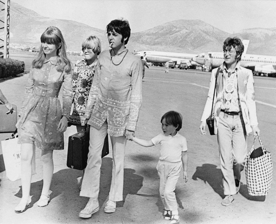 John Lennon And Paul Mccartney Holding Julian Jude Lennons Hand 1967