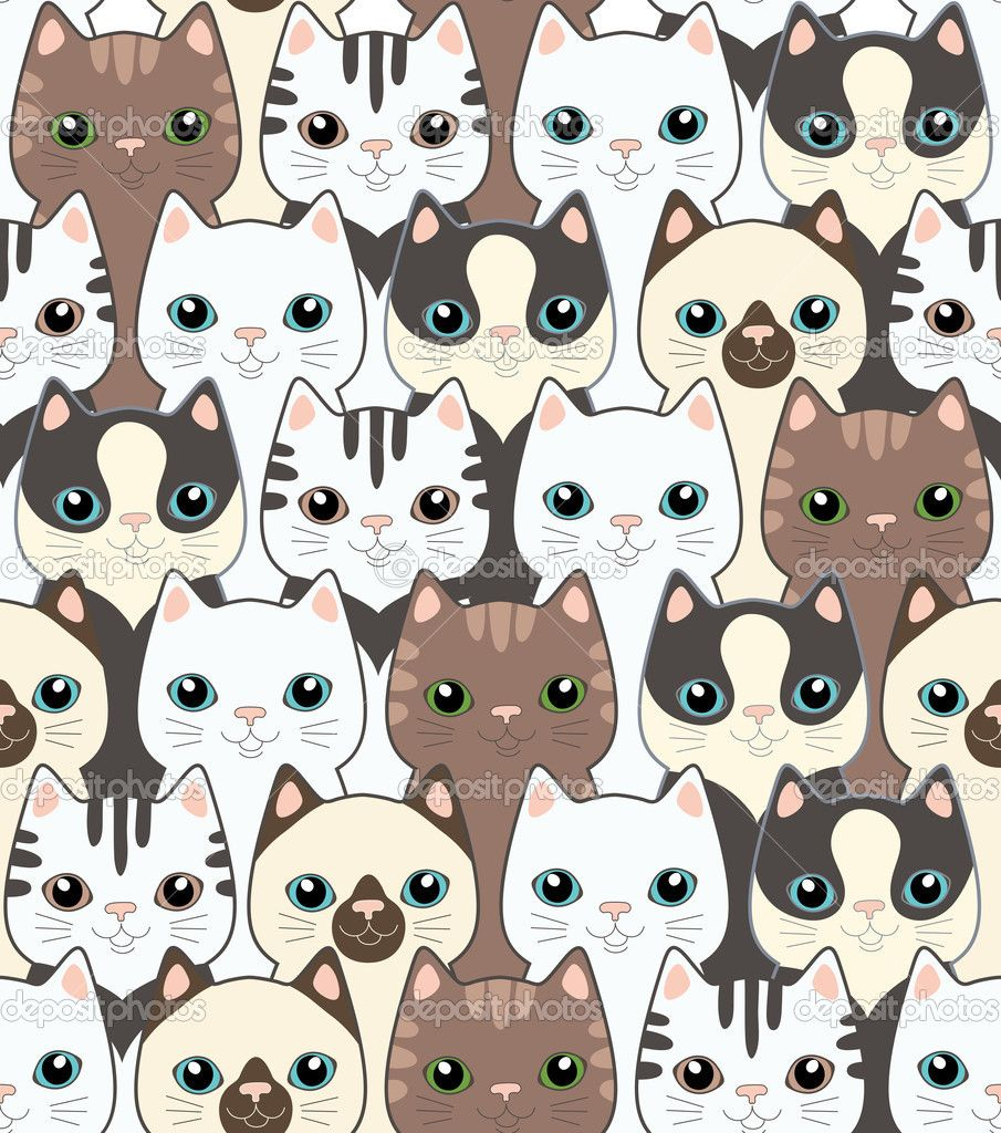 Depositphotos 14077352 funny cartoon cats seamless - Cat wallpaper cartoon ...