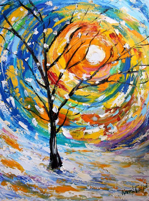 original oil painting sunrise winter