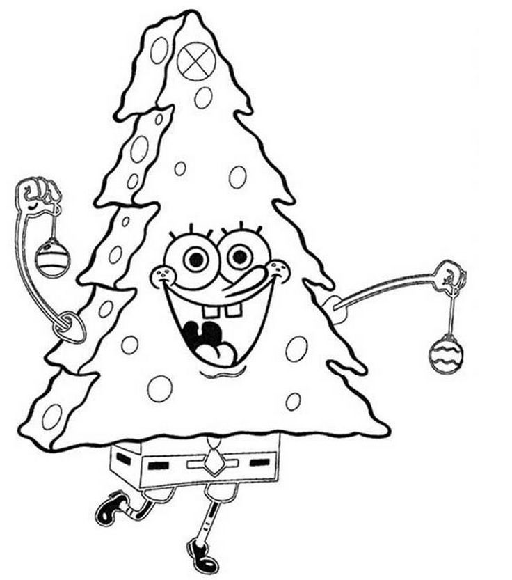 Sponge Bob Xmas Tree Costume Spongebob Coloring Christmas Coloring Pages Coloring Books