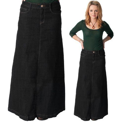 13e2961fe Black denim - long modest skirt. Fashionable black denim flared style maxi  skirt