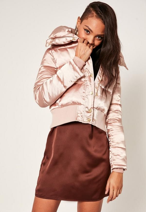 Get the luxe look and confident vibes with this peach pink satin short puffa beaut with oversized collar and side pockets.