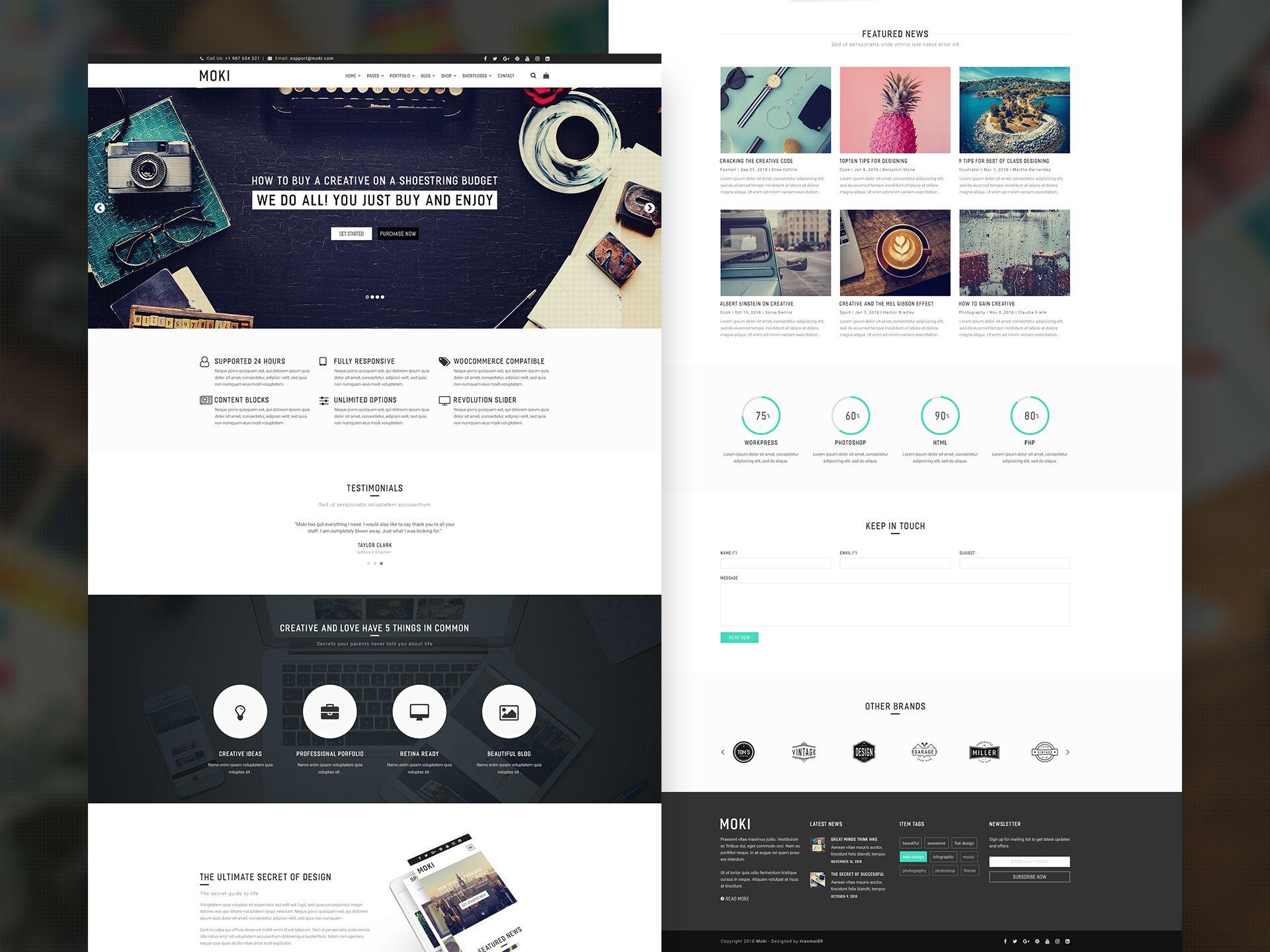 Moki Multipurpose Psd Template Psd Templates Templates Web Design