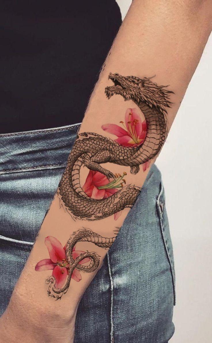 Tattoo Dragon Flower In 2020 Tattoos Unique Tattoos For Women Tattoo Fonts