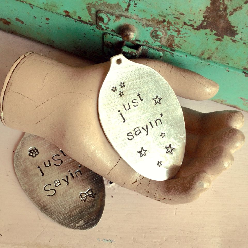 Custom order- stamped silver spoon pendants- made for Julie's Junquetique on etsy.com