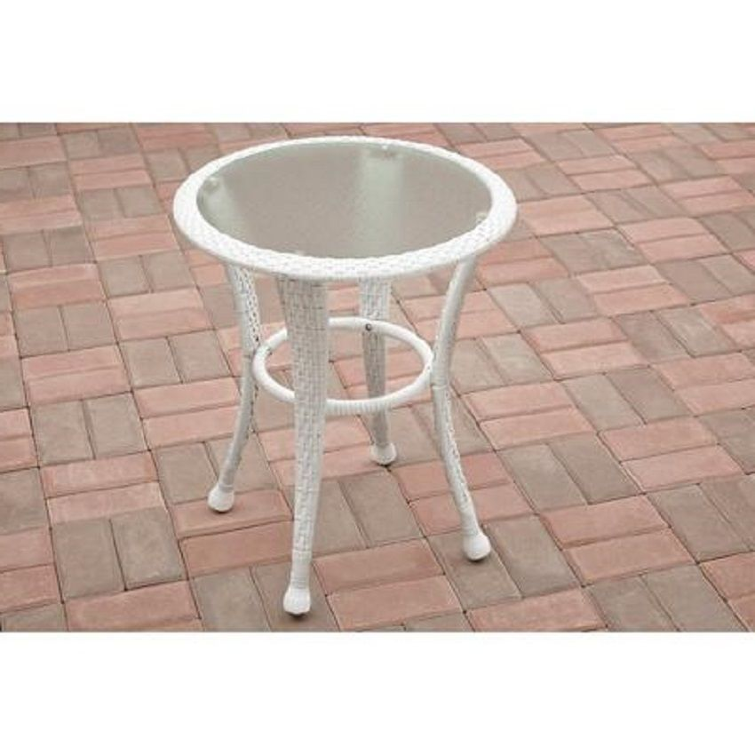 Outdoor Side Table Wicker White Patio Porch Garden Furniture Glass Tabletop  Deck