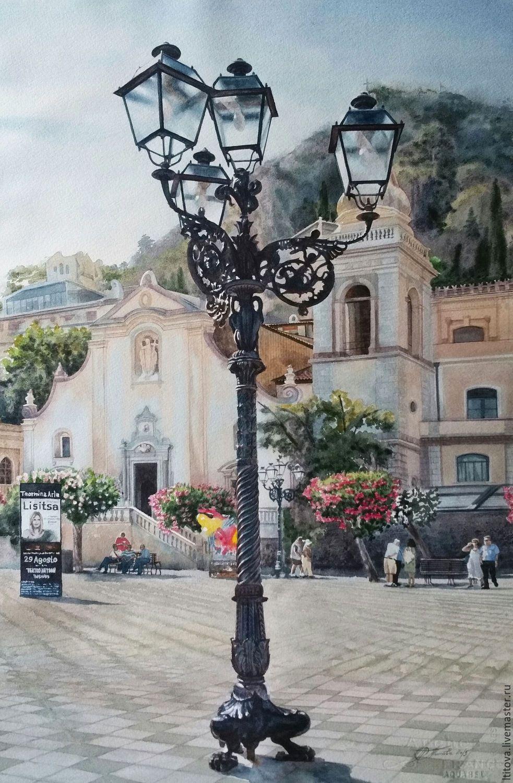 """Акварель """"Piazza IX Aprile. Taormina. Sicily"""" – заказать ..."""