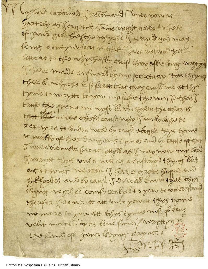 tudor letters King Henry VIII's manuscript letter to