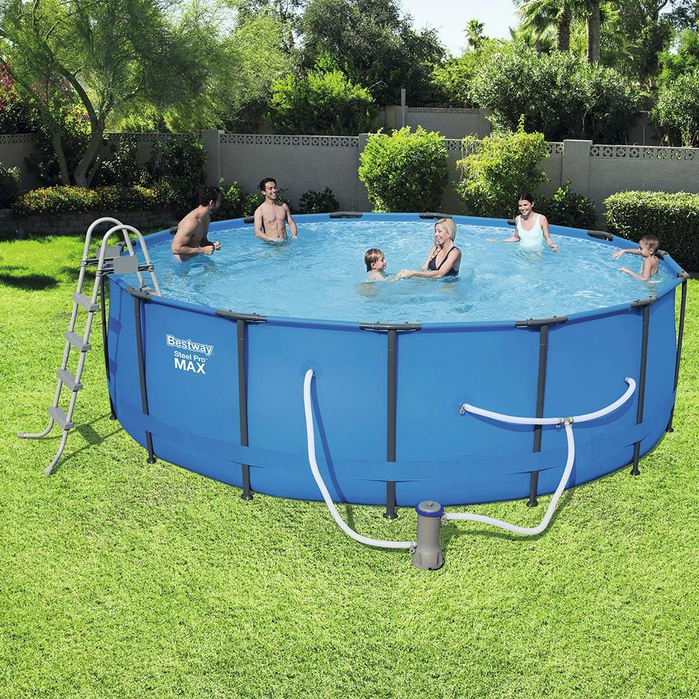 15 Ft Round 48 In Deep Steel Pro Swimming Pool Set Bestway Blue Above Ground Swimming Pools Swimming Pools Pool