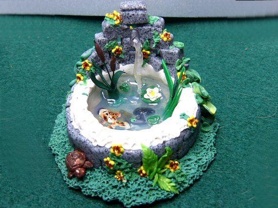 Whimsical terrarium garden fairy fish pond handmade for for Clay fish pond