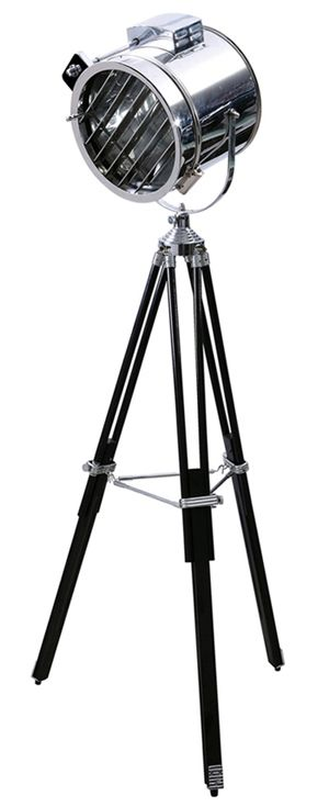 Chrome nautical style spotlight tripod floor lamp on black stand