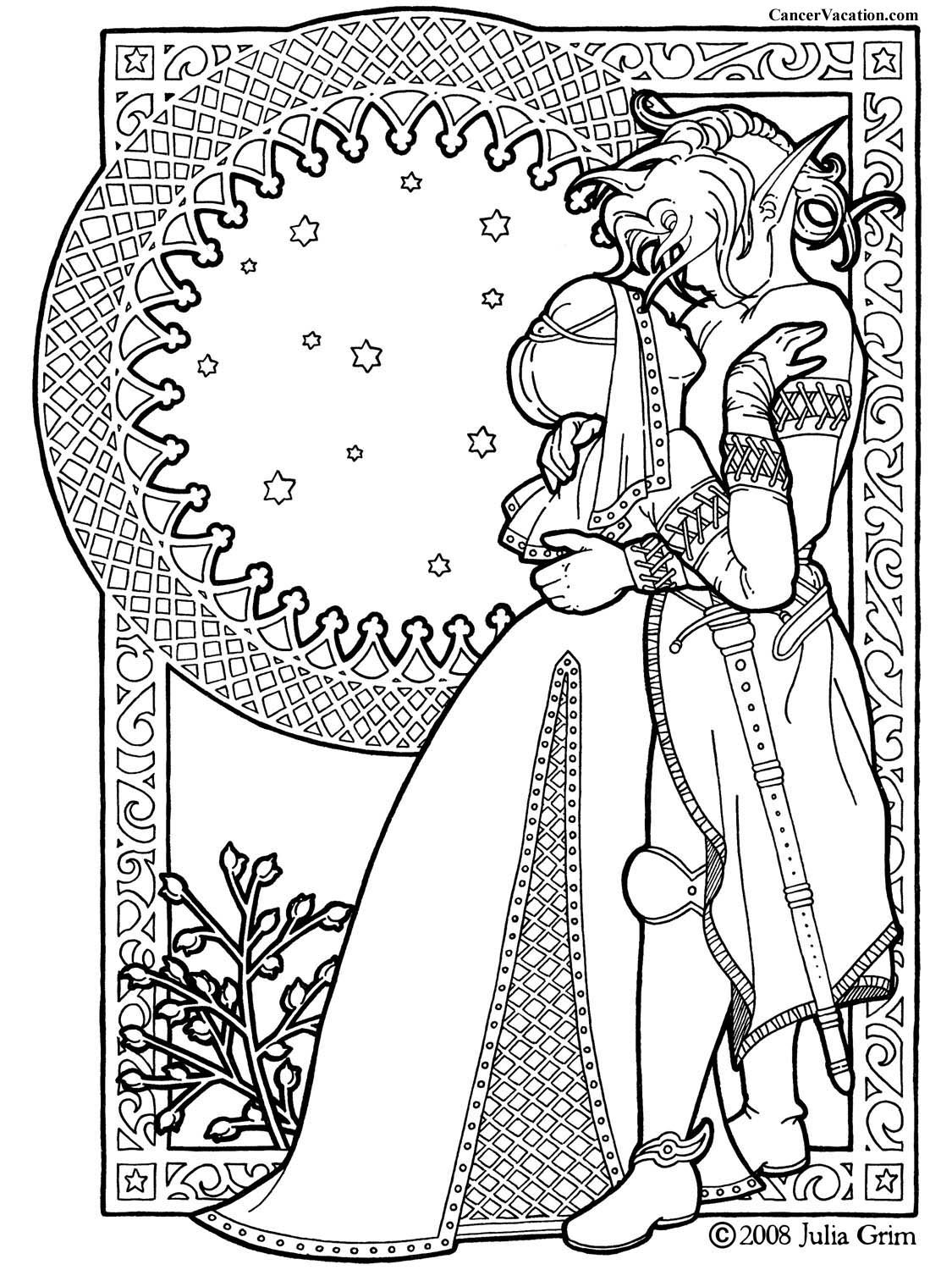 Complicated coloring pages for adults fantasy couple coloring book page click for printable version
