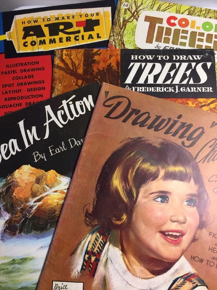 Vintage Lot Of 5 Walter T Foster Art Instruction Books Trees Sea