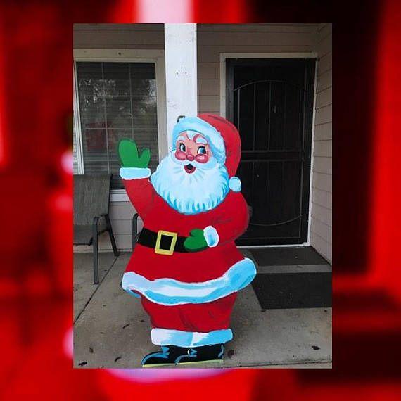 Santa Claus Sign Vintage Christmas Old Fashioned Look Vintage Christmas Christmas Yard Christmas Signs