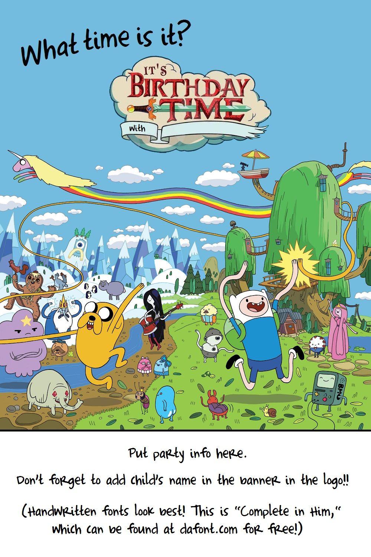 FREE TEMPLATE! Adventure Time Birthday Invitation | Birthday ...