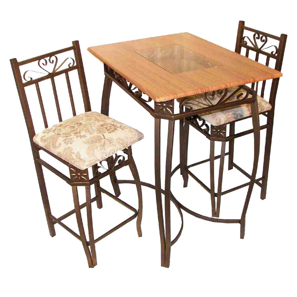 3pc Bar Height Table Set Cherry Red Home Source Pub Table