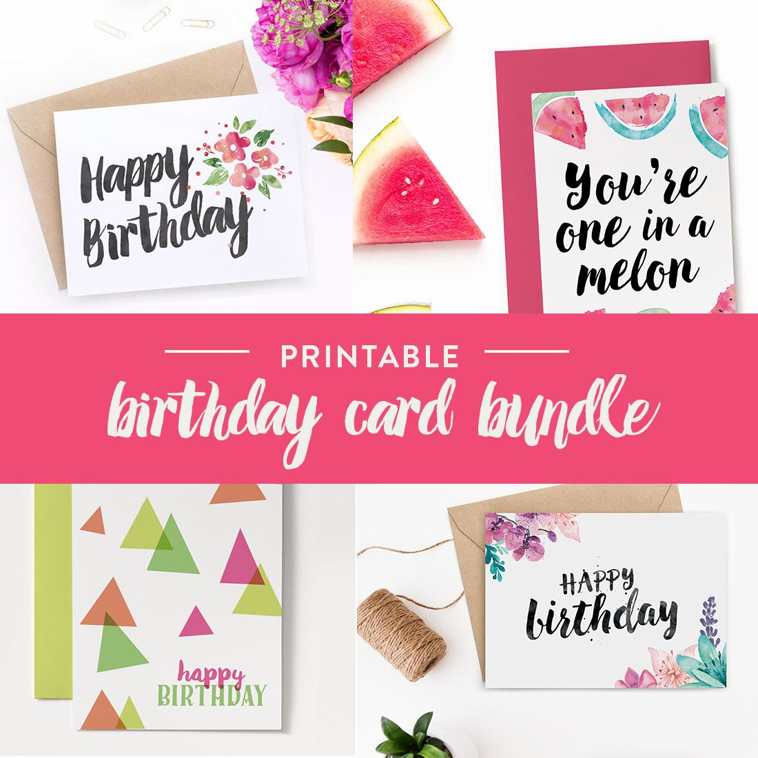 You Wont Run Out Of Birthday Cards With This Bundle Download All These Printable Instantly Whenever Need To Wish Someone Happy