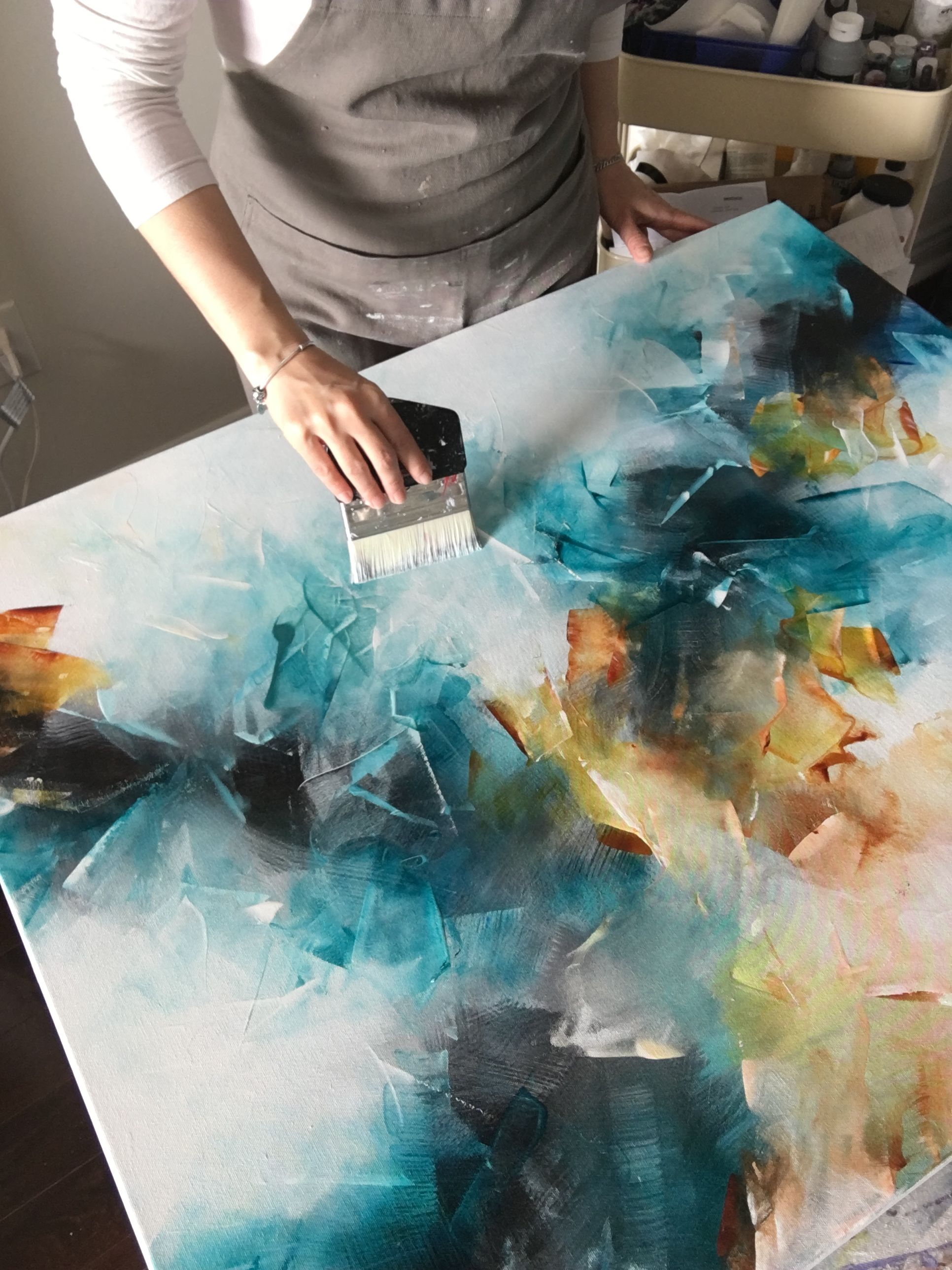 Art Studio Work in progress - an acrylic abstract painting on canvas, using Gold...