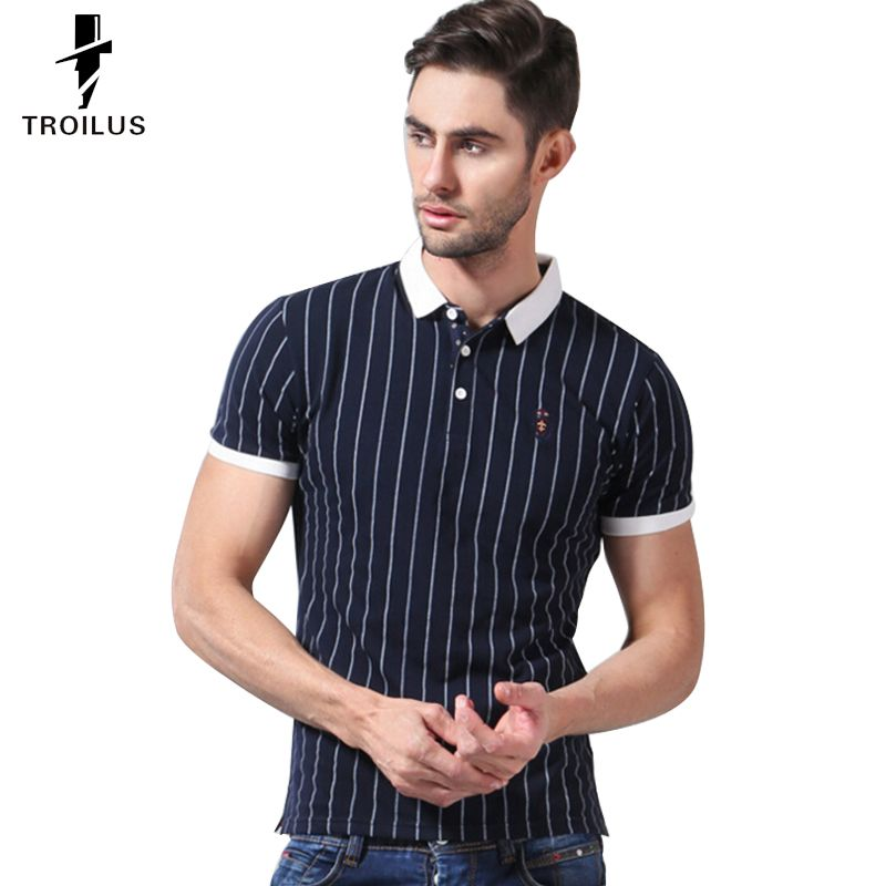 Find More Polo Information about Troilus Striped Polo Cotton POLO Shirts Men…