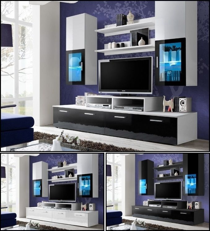 Living Room Wall Display Unit Tv Cabinet Stand High Gloss Led Lighting MINI