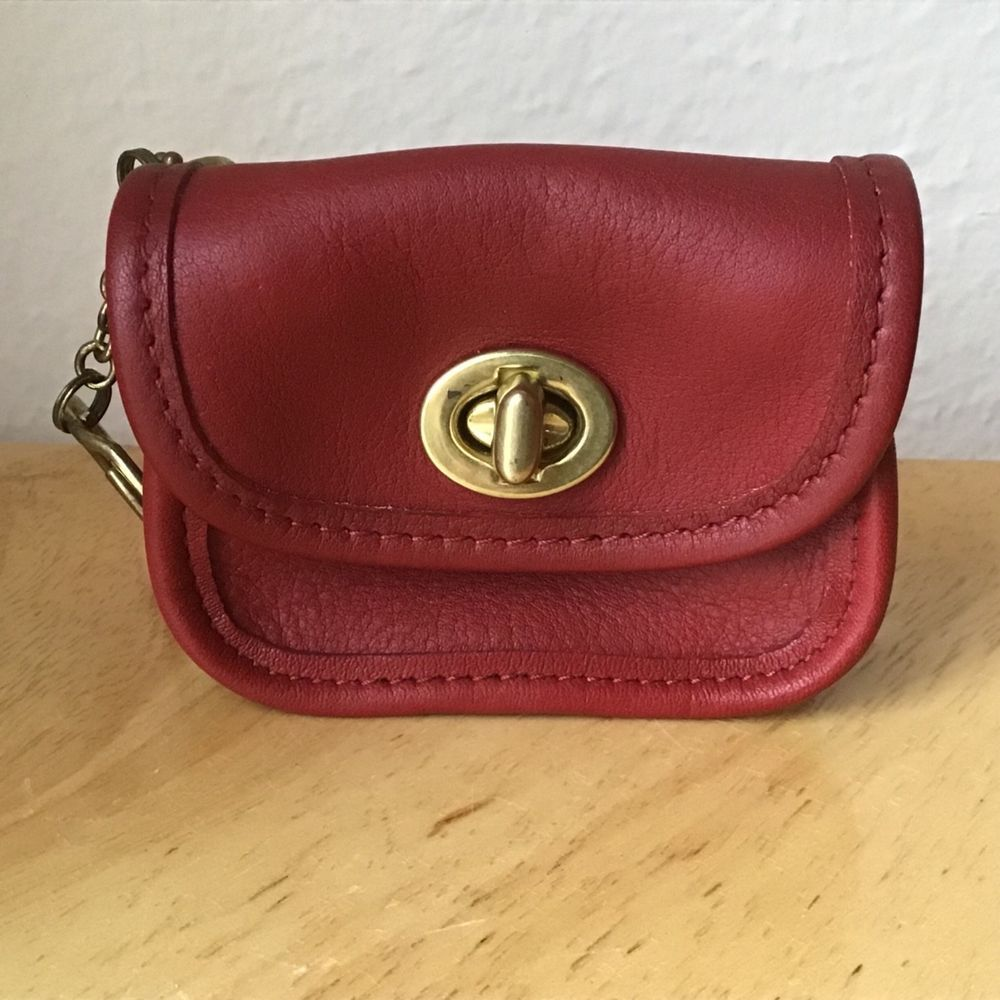 6e808660273 Vintage Coach Mini City Bag Coin Purse Key Fob Red Leather Keychain Turn  Lock  Coach