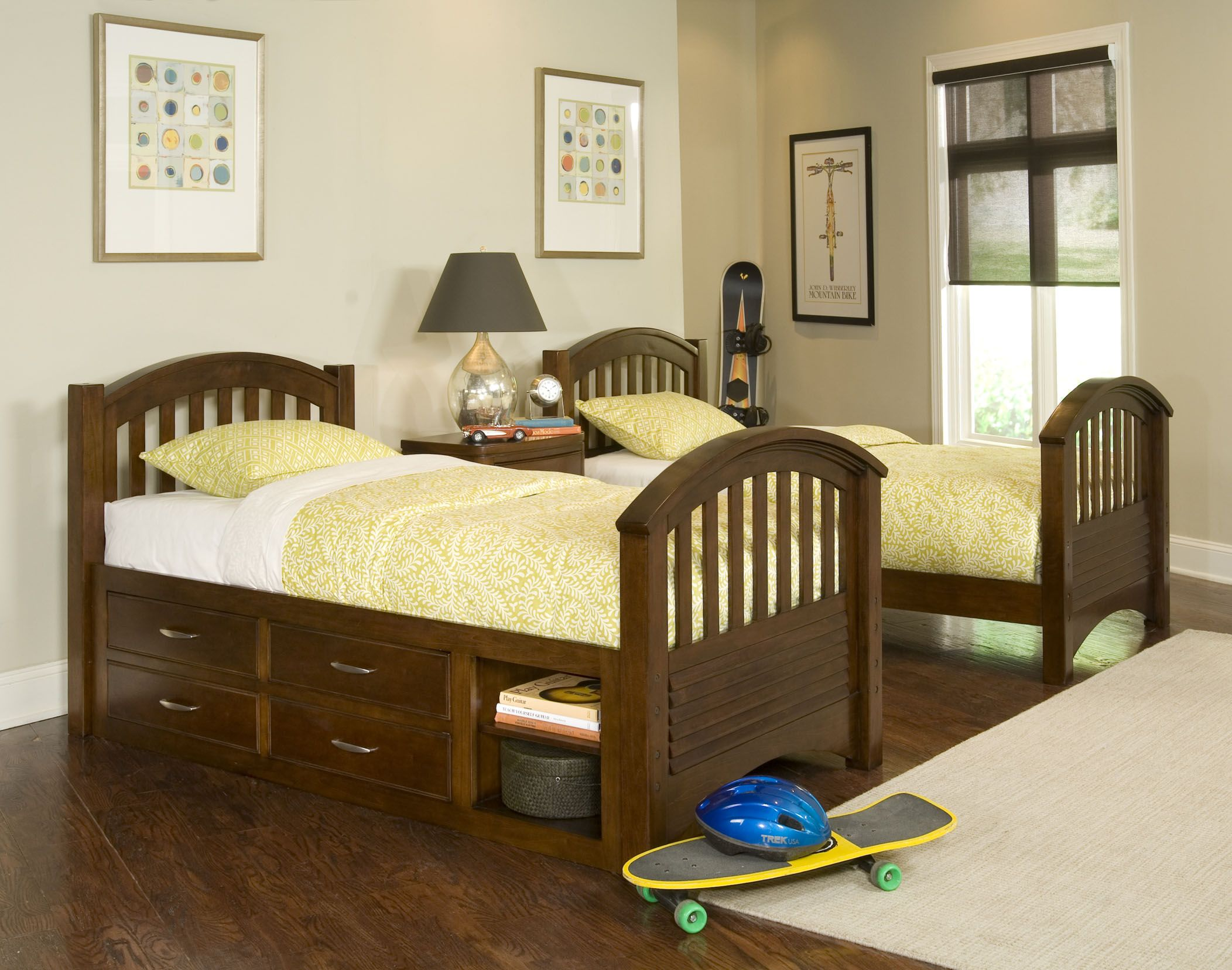 Traditional Wooden Twin Bed For Boys And Simple Nightstand On Hardwood Flooring In Minimalist Bedroom
