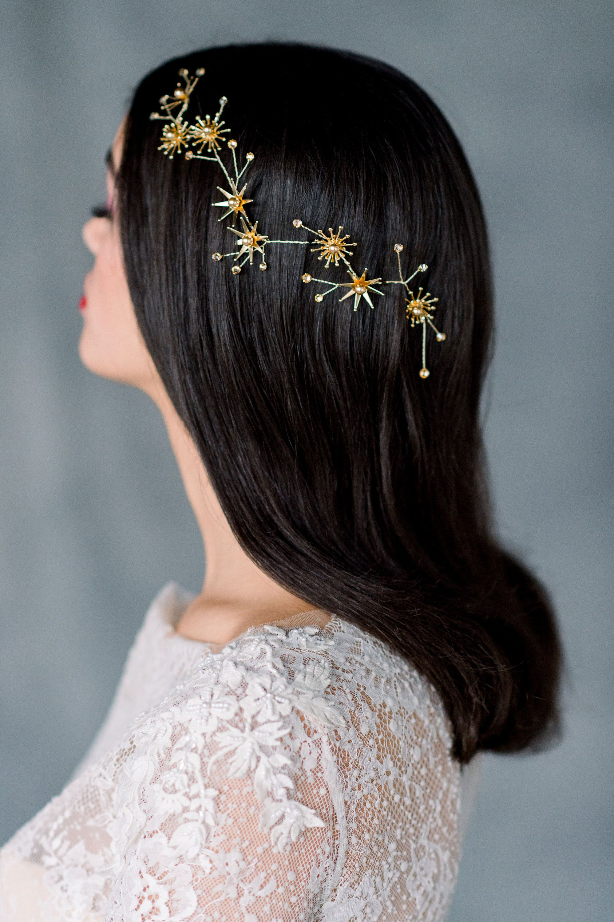 silver starburst headpiece, gold star crown, rose gold