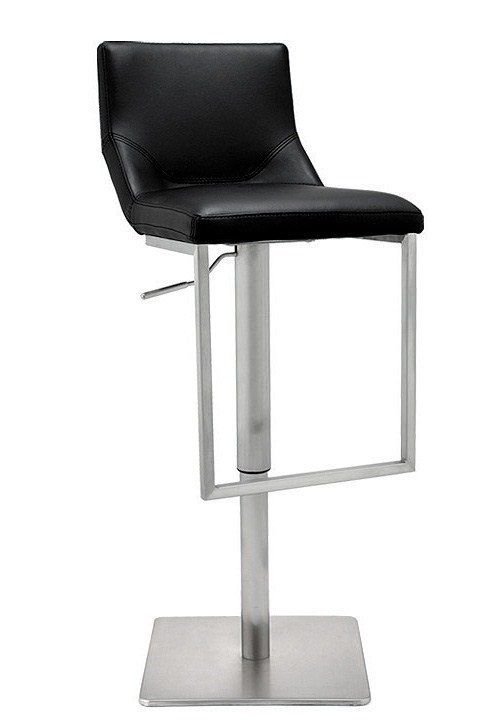 Nadia Modern Stainless Steel And Leather Stool In Black Leather
