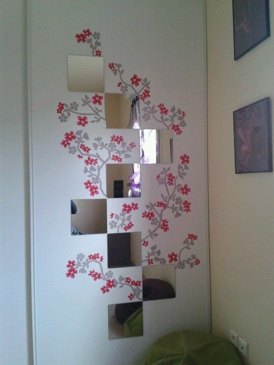 Miroirs + stickers fleurs...ambiance japonisante