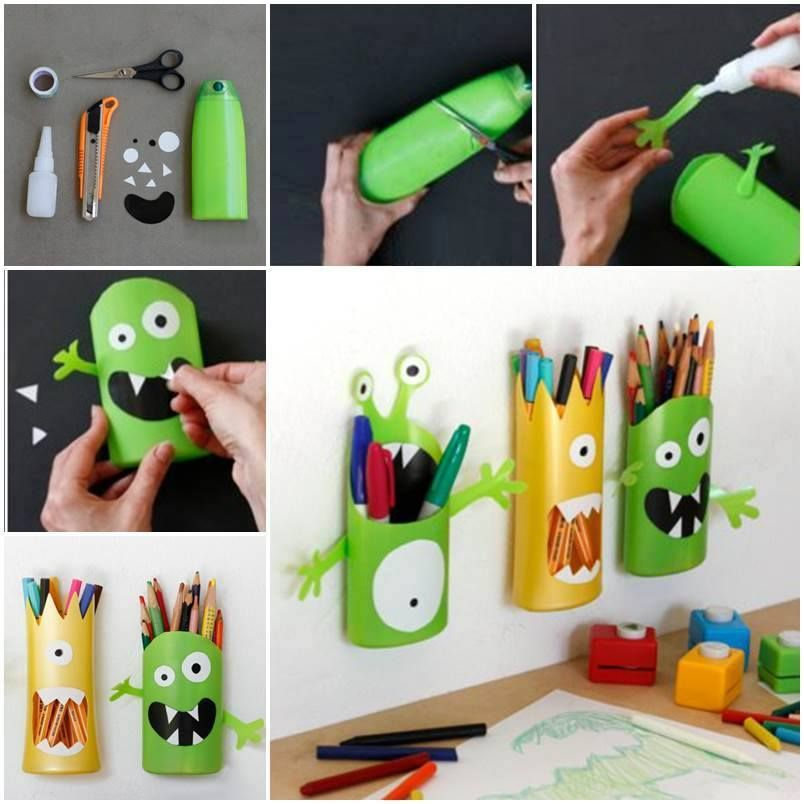 porte crayon avec des bouteilles en plastique r cup r es diy pinterest porte crayon. Black Bedroom Furniture Sets. Home Design Ideas