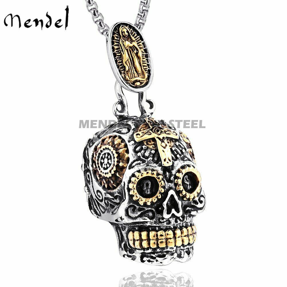 Mendel Mens Gothic 10k Gold Skull Pendant Necklace Carved Biker Stainless Steel Ebay In 2020 Skull Pendant Necklace Sugar Skull Pendant Skull Pendant