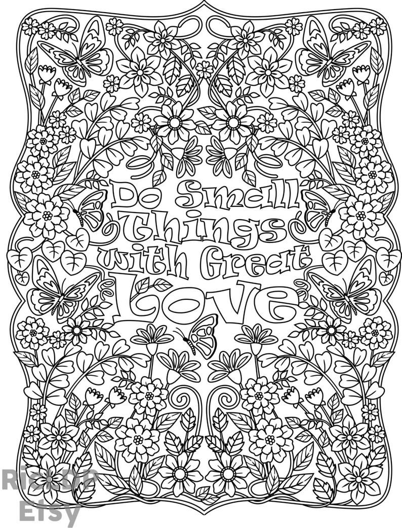 Do Small Things With Great Love Coloring Page Flower Leaves Etsy Love Coloring Pages Coloring Pages Coloring Books