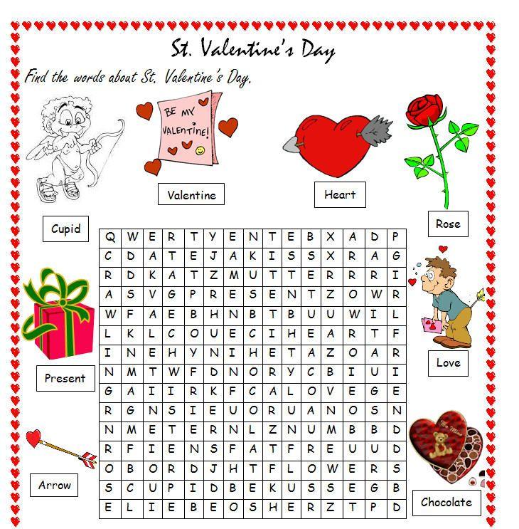 valentine's day word search | esl classroom ideas | pinterest, Ideas