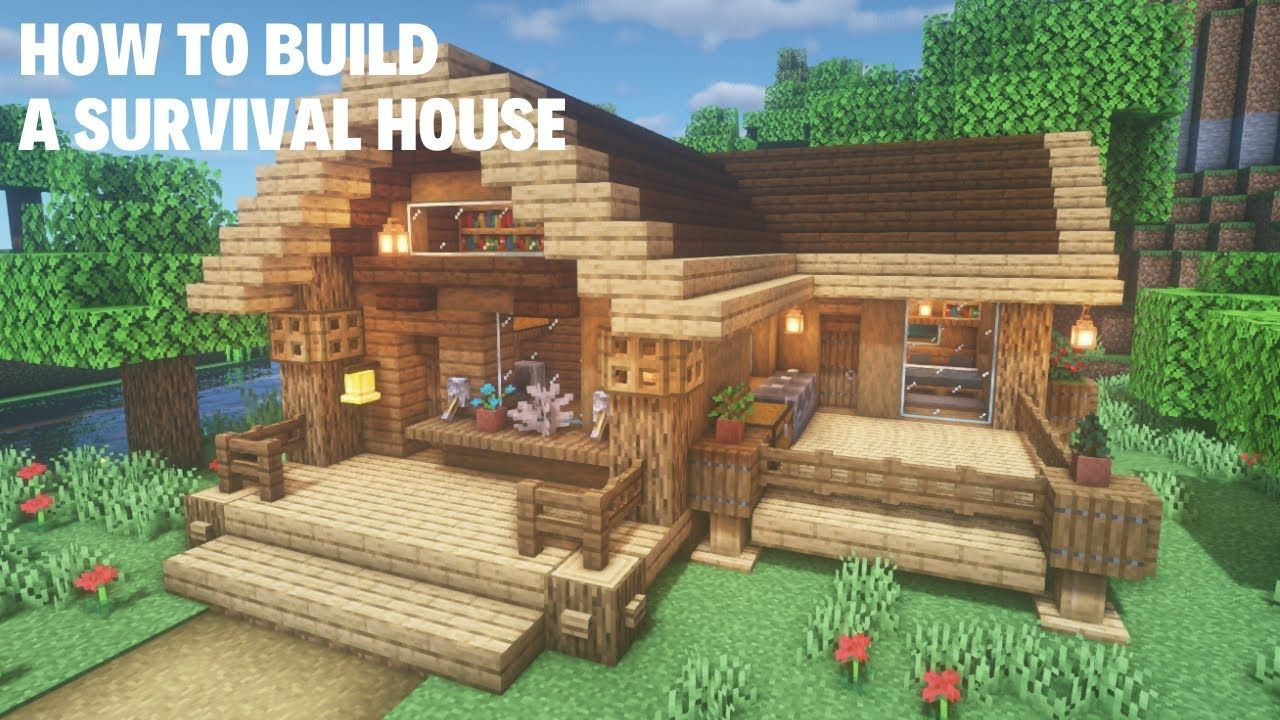 Minecraft A Wooden Survival House In 2021 Cute Minecraft Houses Minecraft Architecture Minecraft House Designs