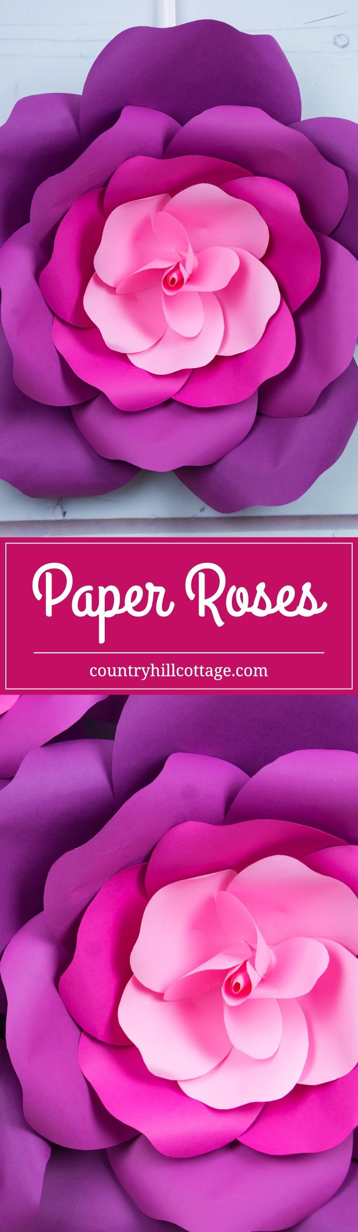 Giant paper roses in 5 easy steps free printable template paper learn to craft giant paper roses in 5 easy steps and get a free printable template for the petals papercrafts paperflowers countryhillcottage mightylinksfo