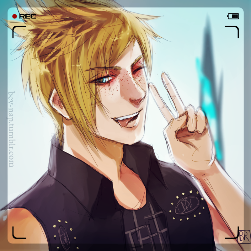 """Lost in the dark without you."" Prompto and Noctis; Final Fantasy XV. Part of a series of character hand-portraits I have planned to do for this game!  Artwork ©Adele Lorienne W..."