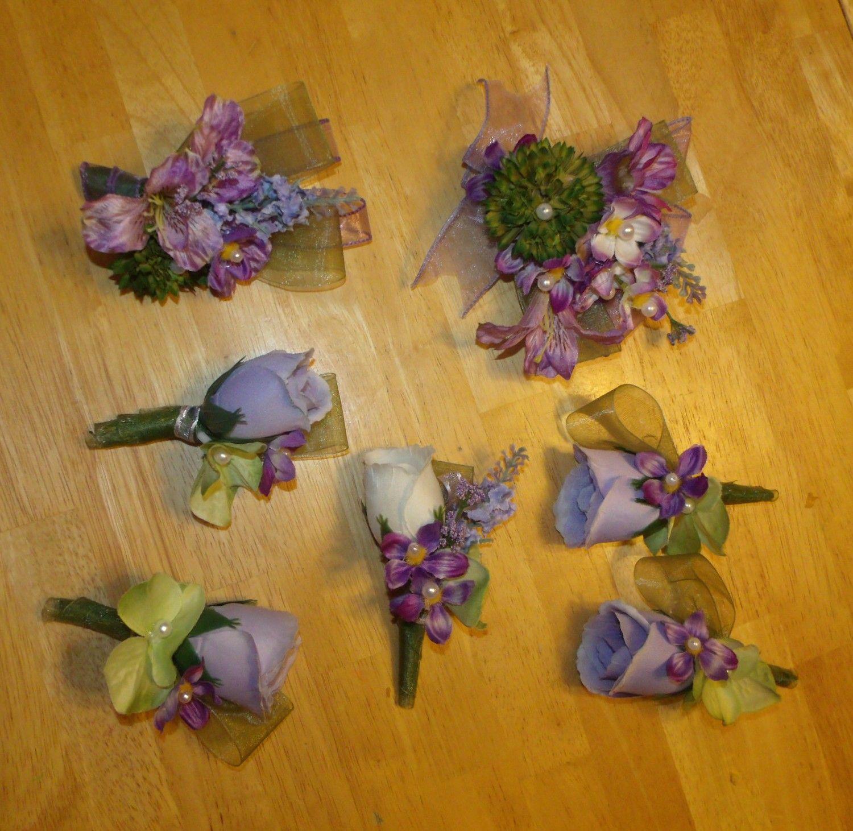 53af17649ae Lavender  Wisteria Men s boutonnieres and Ladies corsages at  www.silkweddingflowersforless.com