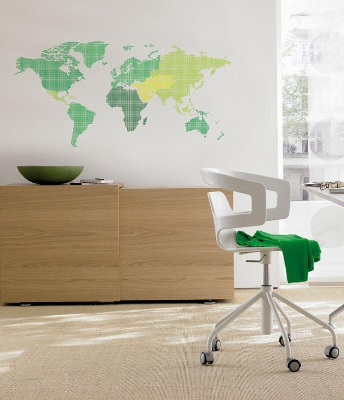 Weltkarte Wand Wandtattoo Weiße Wand Farbige Wanddeko Helle Möbel