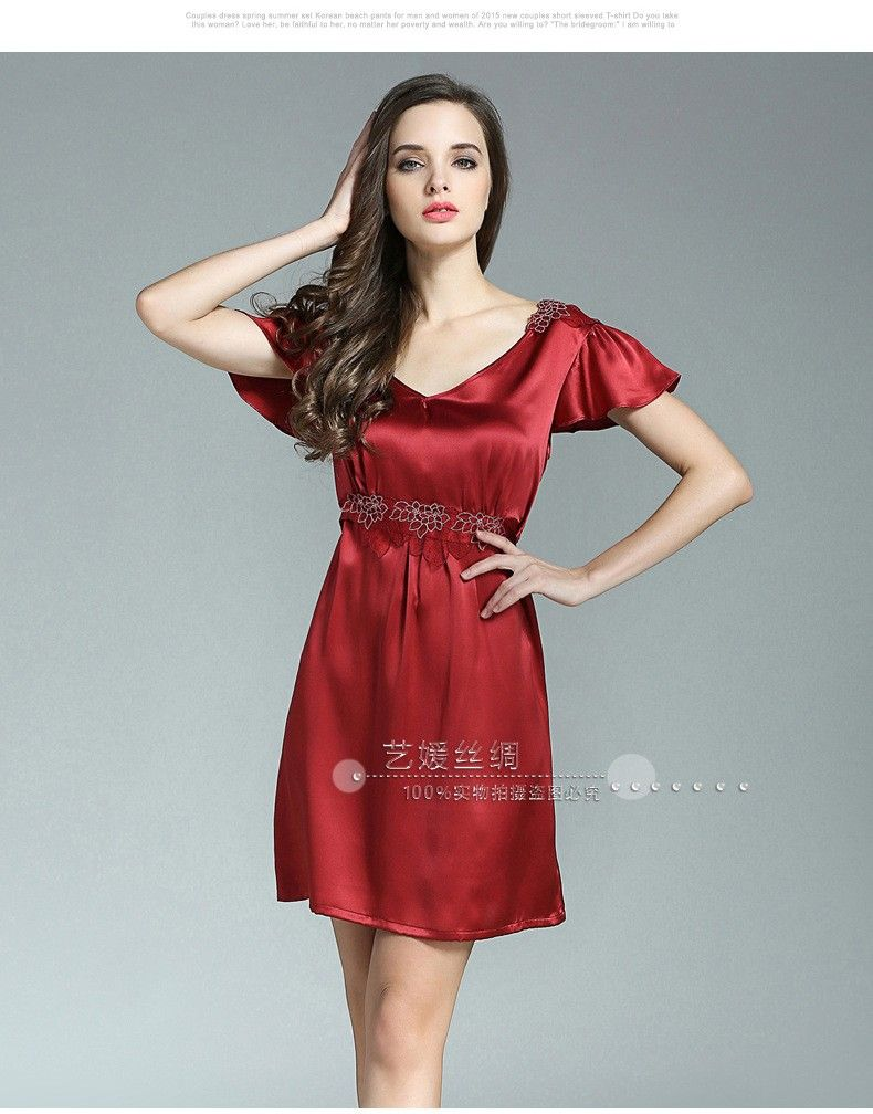 9dca8d8f50  SALE  100% Genuine Silk Nightgown Female Sexy V-Neck Night Gowns Short  Sleeve Ruffles Embroidery Sleepwear S5590 - MISS LADIES