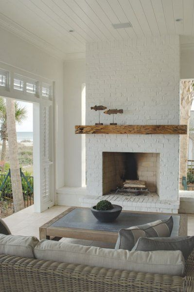Seaside Style Sea Shell Chic Painted Fireplace Done Well