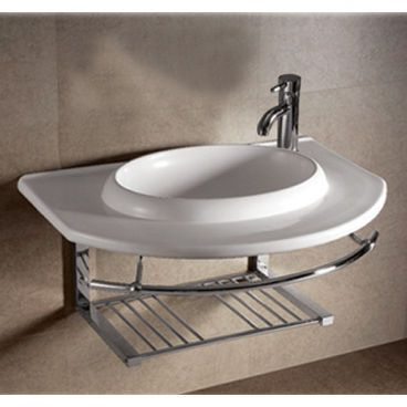 Whitehaus Collection Isabella Large Wall Mount Rectangular Bowl Bathroom  Sink With Chrome Shelf And Towel Bar In White