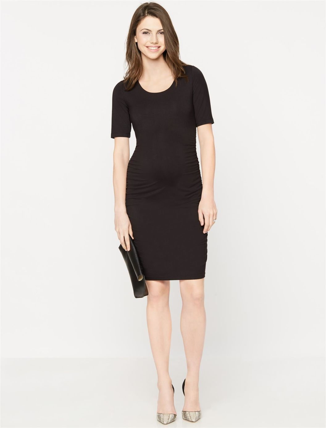Side ruched maternity dress black a pea in the pod maternity side ruched maternity dress black a pea in the pod maternity ombrellifo Images