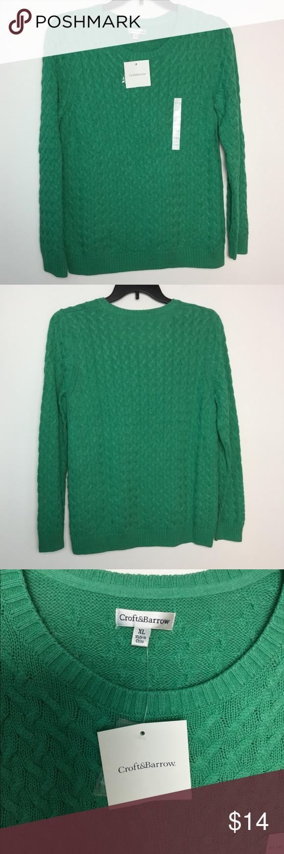 Croft Barrow Xl Crewneck Sweater Cable Knit Nwt Crew Neck Sweater Sweaters Cable Knit [ 1740 x 580 Pixel ]